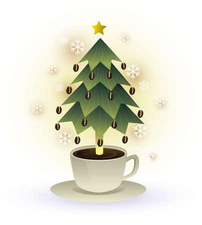 coffee tree: christmas coffee cup graphic