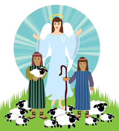christmas nativity scene ,angel and shepherd  Vector