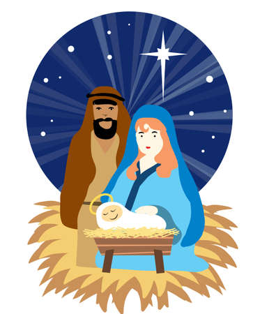 nativity scene: christmas nativity scene ,animal cave, holy family Illustration
