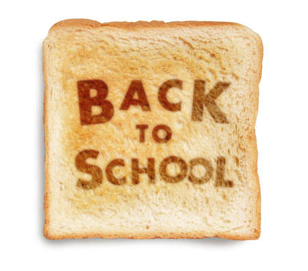 western food: BACK TO SCHOOL picture burn mark on toast bread, isolated on white background Stock Photo
