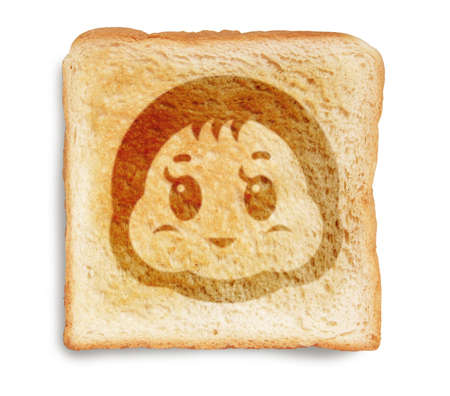 toast bread with baby infant picture burn mark isolated on white background photo