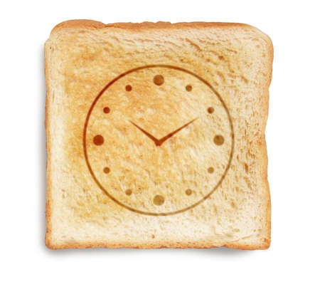 toast bread with clock dial picture burn mark isolated on white background