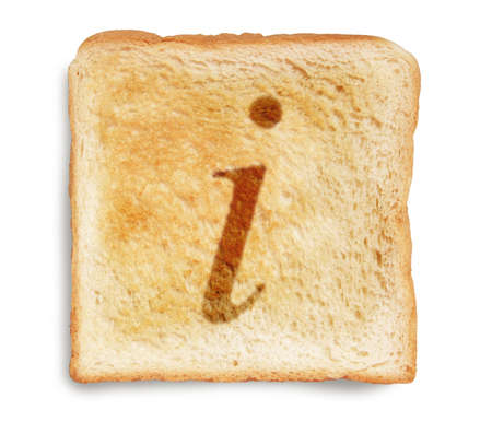 i letter for internet burn mark on toast bread, isolated on white background photo