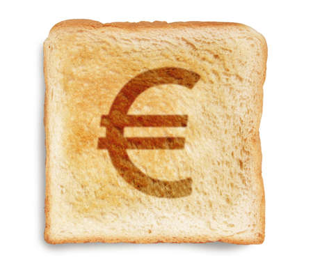 EURO currency sign burn mark on toast bread, isolated on white background photo