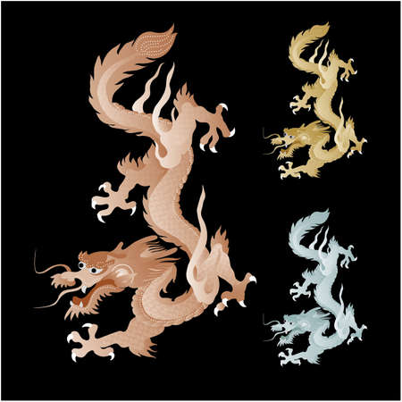 chinese new year dragon: golden dragon graphic clip art on black background Illustration