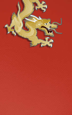golden dragon on red background  paper craft graphic for chinese new year celebration photo