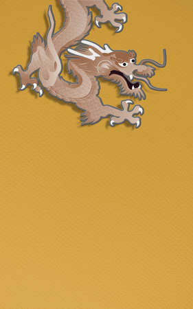 golden dragon on yellow background  paper craft graphic for chinese new year celebration photo