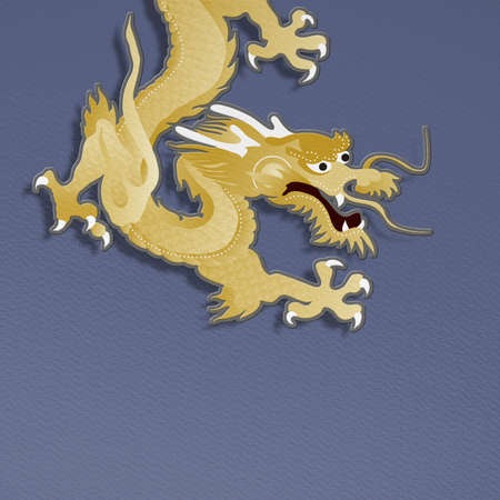 golden dragon on blue background  paper craft graphic for chinese new year celebration photo
