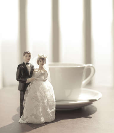 wedding bride and groom couple doll with coffee cup photo