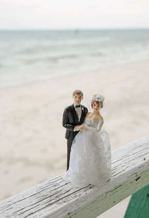 wedding couple doll by the sea