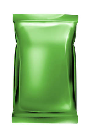 instant noodle: green aluminum foil bag package isolated on white