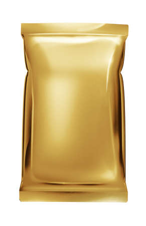 foil: gold aluminum foil bag package isolated on white