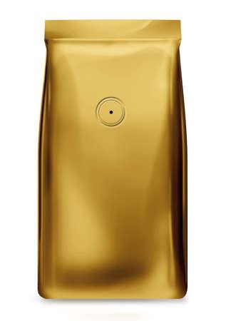 goldfolie: gold Folienbeutel mit Ventil isoliert auf wei�