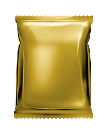 instant noodle: gold aluminum foil bag package with zigzag cut  isolated on white