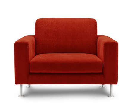 red chair: sofa furniture isolated on white background Stock Photo