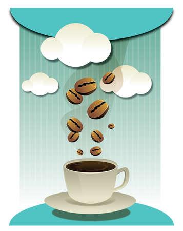 coffee beans: granos de caf� y una taza de caf�