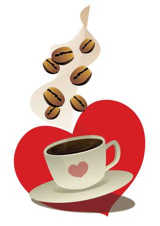 heart tone: taza de caf� y los frijoles con el fondo rojo en forma de coraz�n
