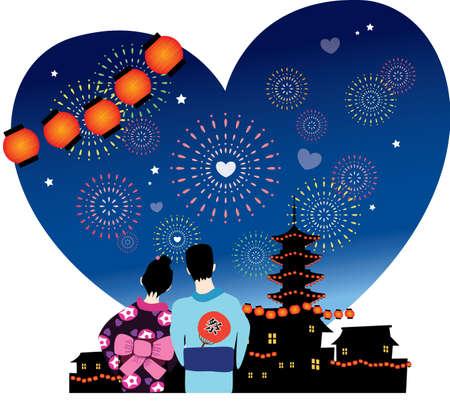 japanese summer festival romance  Vector