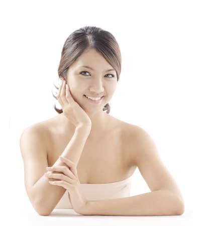 medium close up: woman model beauty shot style
