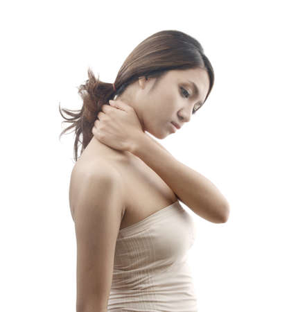 muscle tension: neck pain symptom, female model isolated on white background Stock Photo