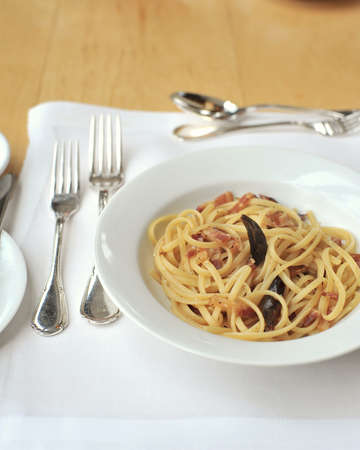 pasta with ham bacon and olive oil  photo