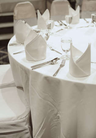 white table top in banquet party photo