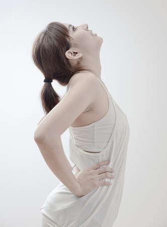 beautiful asian girl with stretch exercise pose photo