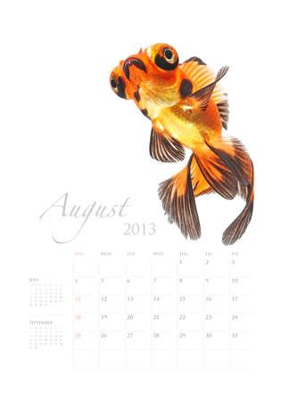 2013 Calendar A4 vertical size, Goldfish lover concept Stock Photo - 14949218
