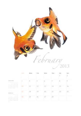 2013 Calendar A4 vertical size, Goldfish lover concept Stock Photo - 14949186
