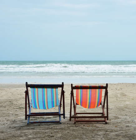 sea, tropical beach chairs Stock Photo - 16452908