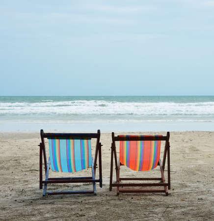 sea, tropical beach chairs Stock Photo - 16452908