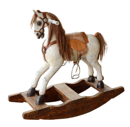 rocking: wooden horse toy Stock Photo