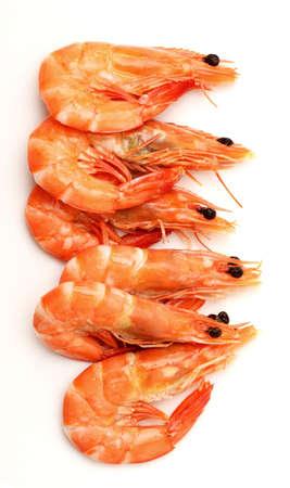 Boiled shrimp isolated on white Stock Photo - 15878207