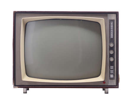 tv station: vintage television isolated on white background