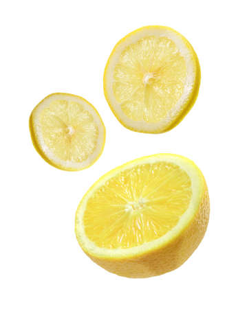 lemon sliced isolated on white background Stock Photo - 21020146
