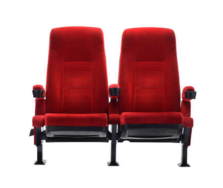 映画座席白い背景で隔離の劇場席 写真素材