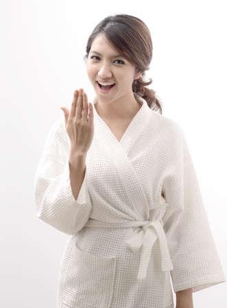 fresh women: Asian woman in bathrobe , morning mood