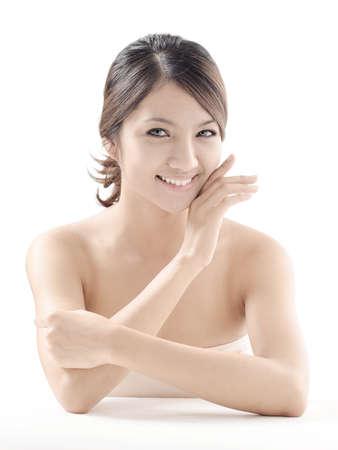 beauty shot: Asian woman model beauty shot in studio on white background