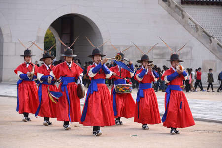 SEOUL, KOREA - OCTOBER 22 : Royal Guard in The Gyeongbokgung Palace in Seoul, Korea on October 22, 2014.