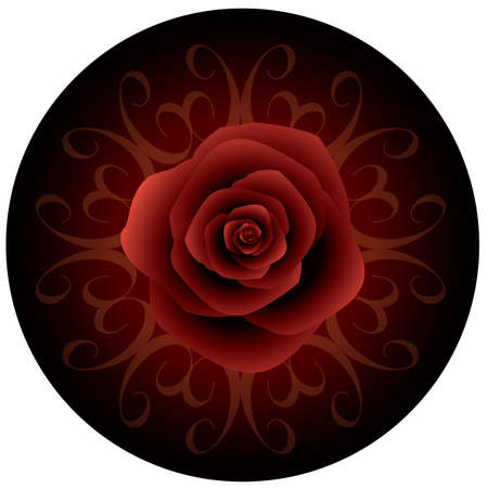 Valentines rose on circle shape background vector EPS10 graphic illustrate