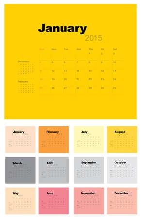 2015 Calendar template, vector graphic artwork