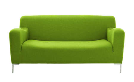 green couch: sofa furniture isolated on white background Stock Photo