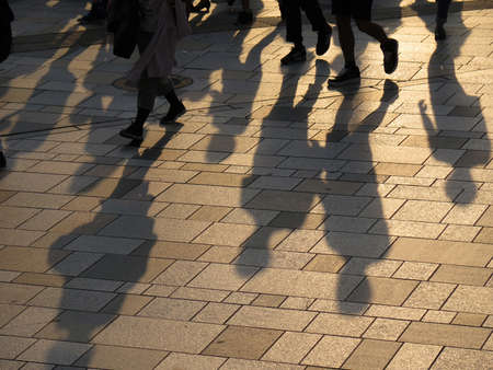 shadow of people walking together