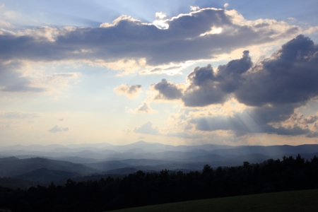 Crepuscular rays on the Blue Ridge Parkway photo