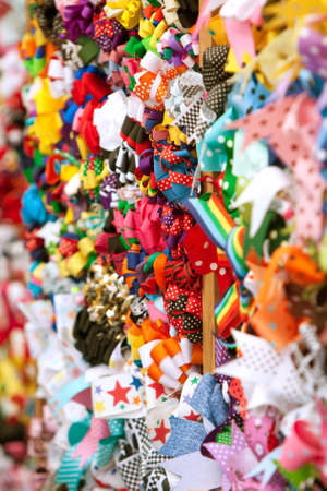 Brightly Colored Decorative Ribbons Displayed For Sale Stock Photo - 14832915