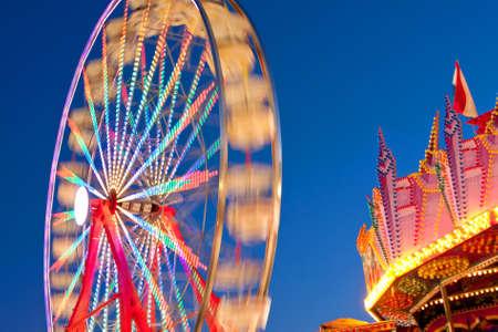 Ferris Wheel Colors Blur Against Twilight Sky