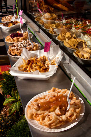Funnel Cakes On Sale At A County Fair Stock Photo