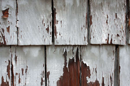 chipped: Weathered And Chipped Wood Shingles On Side Of Building