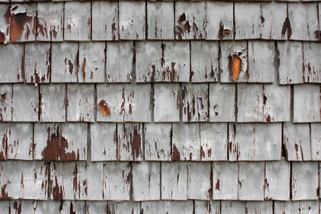 Worn And Weathered Wood Shingles On Side Of Building Stock Photo - 17114285