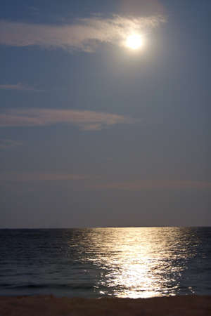 ft lauderdale: Moonlight from a full moon illuminates a Ft  Lauderdale beach and the Atlantic Ocean Stock Photo